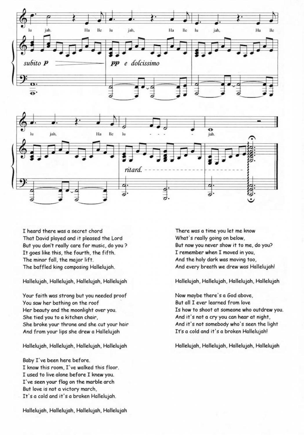 Hallelujah song shrek version lyrics